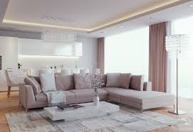 modern bright colors for contemporary living room design with sectional sofa and modern crystal lighting fixtures