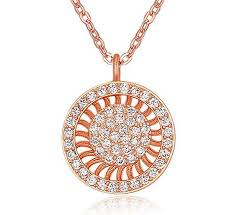 womens sunray circle rose gold pendant necklace