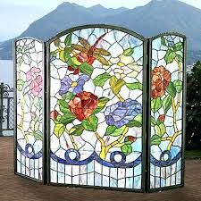 stained glass fireplace screen decorative screens fire uk stained glass fireplace screen screens decorative fire patterns