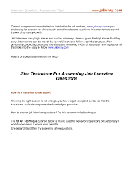 Star Questions Star Technique For Answering Job Interview Questions From Www Jobxra