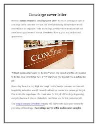 Brilliant Ideas Of As The Name Suggests The Concierge Cover Letter