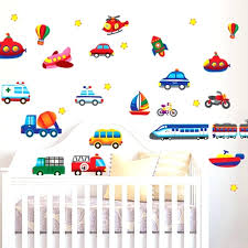 cars baby nursery cartoon car wall decals wallpaper for kids room home sticker vintage