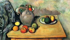 still life jug and fruit on a table