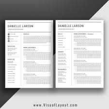 Resume Template The Danielle Instant Download Visuallayout Com