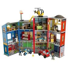 kidkraft fire station set everyday heroes police and wooden play