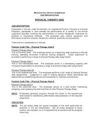 Physical Therapy Job Description Physical Therapist Job Description Template Pt Assistant Cover 1