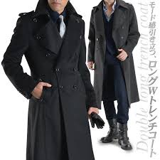 ダブルト trench coat napoleon coat coats nylon cashmere mixed material mens coat black business coat