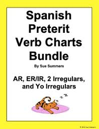 Er Chart Spanish Spanish Preterit Verb Charts Bundle Ar Er Ir 2 Irregulars And Yo Irregulars
