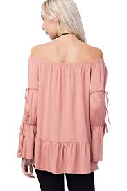 Mittoshop Bamboo Fiber Knit Long Gathered Ruffle Bell Sleeve Off The Shoulder Peplum Blouse Made In Usa