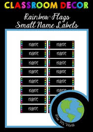 Flag Chart With Names Classroom Decor Small Name Labels Rainbow Flags Editable