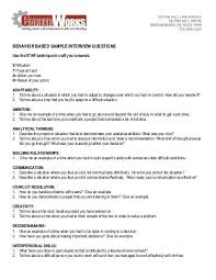 behavioral based interview question examples of behavioral based interview questions military