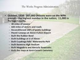 works progress administration facts brian ebie mogadore reservoir history presented by brian ebie