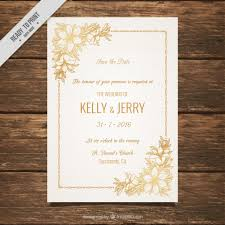 invitation t wedding invitation decorated with golden flowers vector free download