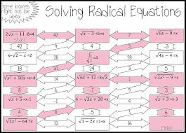 algebra 2 solving radical equations worksheet