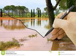 Hand Reflection Chart Hand Draws A Graph About Seasonal Rainfall Concept Image