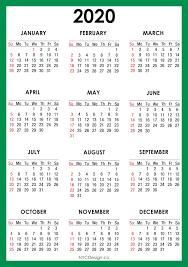 2020 Calendar Printable A4 Paper Size Green Sunday