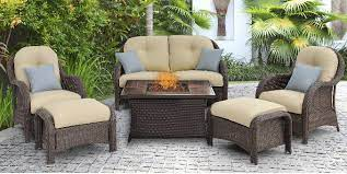 patio furniture set with a fire pit