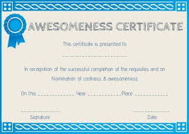 Certificate Of Awesomeness Template Certificate Of Awesomeness Template Word Certificate Of