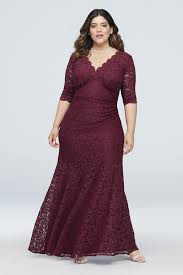 V Neck Ruched Lace Plus Size Gown With 3 4 Sleeves Nightway