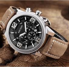 megir 2015 quartz sport watch waterproof genuine leather strap waterproof watch men megir chronograph gallery desc desc desc desc