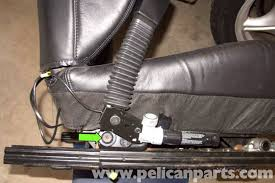 bmw z3 front seat removing and buckle replacement 1996 2002 E46 Seat Belt Pretensioner Wiring Harness then remove t50 torx seat belt buckle fastener (green arrow) Seat Belt Pretensioner Parts