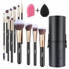 qivange makeup brushes flat foundation blush eyeliner eyeshadow brushes with holder makeup sponge brush cleaner professional makeup brush pcs