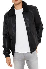 threadbare mens redwing faux leather coat detachable borg