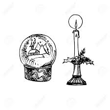 crystal snow globe with house for coloring book for children in hand drawn cartoon ilration