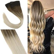 Remy Halo Uv Light Youngsee 16inch Balayage Remy Halo Extensions Human Hair Light Brown Fading To Blonde Hidden