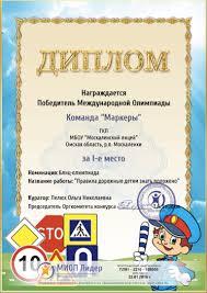 Январь Москаленский лицей  Диплом ПДД