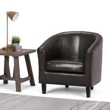 simpli home austin espresso faux leather arm chair