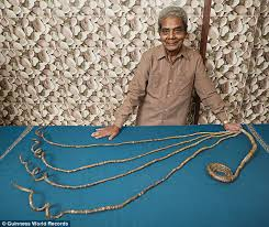 shridhar chillal 78 from india has been growing the nails on his left
