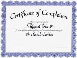 certificate of completion template certificate of completion templates printable