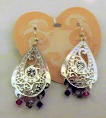 purple crystal chandelier earrings collectibles