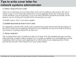 Network Administrator Cover Letter Examples Sample Windows