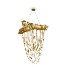 contemporary chandelier swarovski crystal gold plated brass halogen mcqueen