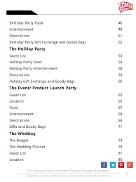 Party Planning Lists Party Planning Secrets Revealed E Book