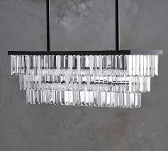 gemma crystal rectangle chandelier pottery barn pertaining to popular residence rectangular crystal chandelier ideas