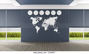 office world map. Empty Blue Boardroom With World Map And Clocks - 3D Rendering Stock Image Office A