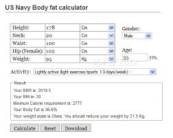 Us Navy Body Fat Calculator Download