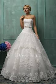 Classic A Line Strapless Lace Applique Wedding Gown With Beaded