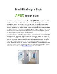 Apex Design Build Rosemont Il Great Tips For Dental Office Design In Illinois By Apex