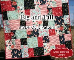 Big Block Quilt Patterns Interesting Big Block Quilt Pattern Big And Tall Fat Quarter Friendly Etsy