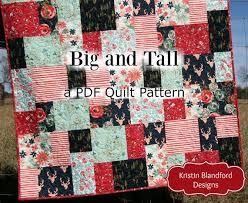 Big Block Quilt Patterns Interesting Big Block Quilt Pattern Big And Tall Fat Quarter Friendly Etsy