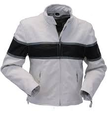 white classic black stripe motorcycle leather jacket