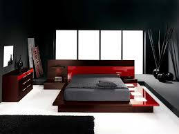 chic contemporary black and red bedroom ideas with black wall painted schemes added red acrylic low bedroombreathtaking stunning red black white