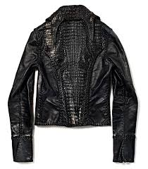 lost art leather jacket with alligator detail