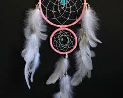 Double Dream Catchers Dream Catcher with Double Ring Turquoise and Red Stones 70