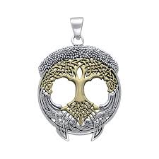 celtic knot tree of life gold accent silver pendant tpv3472 image 1