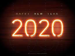 2020 Happy New Year #neon #wood #4K ...
